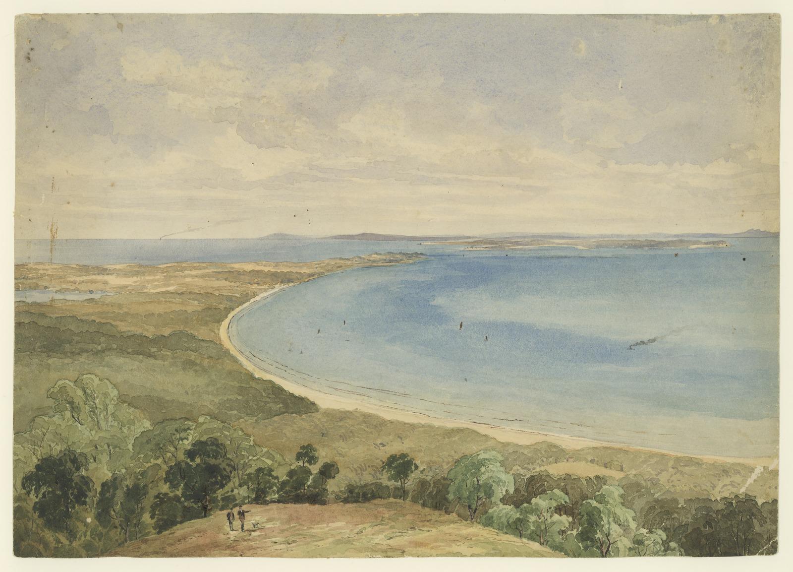 Image 2 Elevated view of unidentified coastline and ocean art original